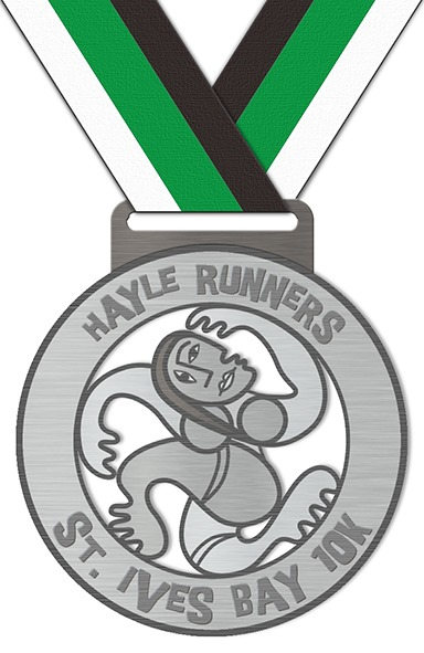 Hayle Runners St Ives Bay 10k medal.