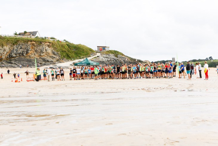 Runners lined up at the start of St Ives Bay 10k.