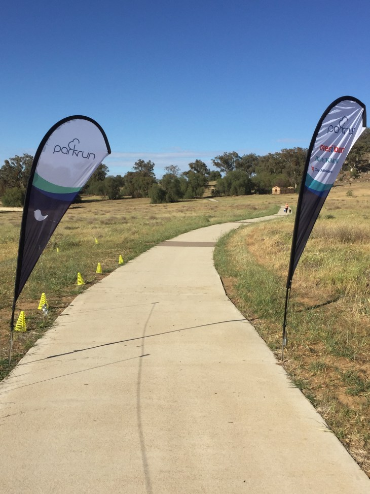 View from the finish line at Cowra parkrun.