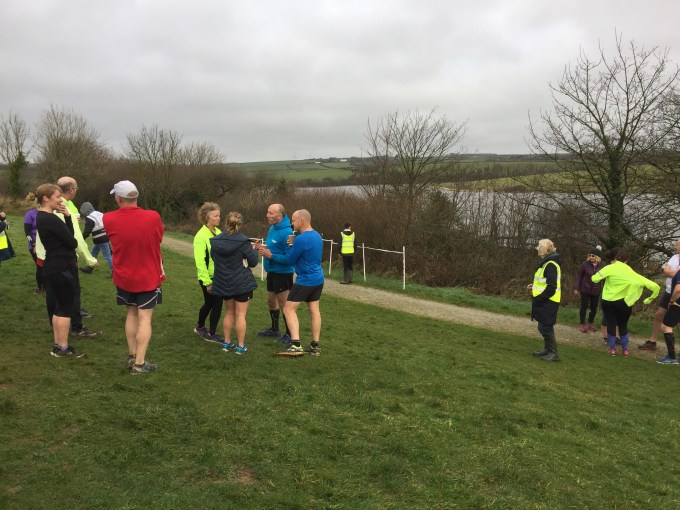 The finish funnel at Tamar Lakes parkrun.