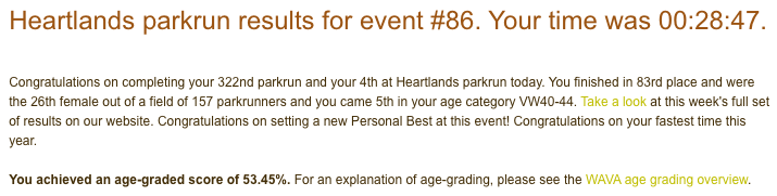 Tamsyn's result from Heartlands parkrun on Christmas Day 2019: 28:47.