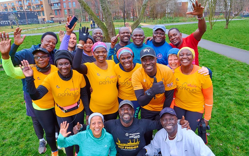Josephine Ocaka and other members of the Ugandan Crew at Burgess parkrun.