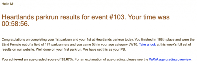 M's result from Heartlands parkrun: 58:56.