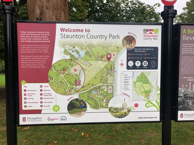 Sign saying 'Welcome to Staunton Country Park'.