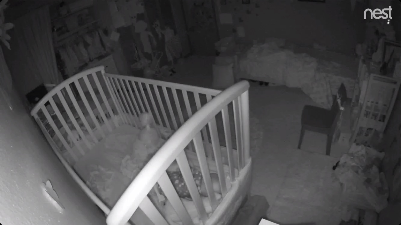 Nest Cam used as a baby monitor, looking at a crib