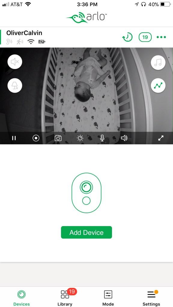 A screenshot of the Arlo Baby monitor app