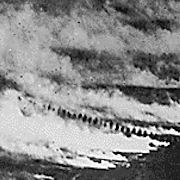 A German gas attack seen from the air
