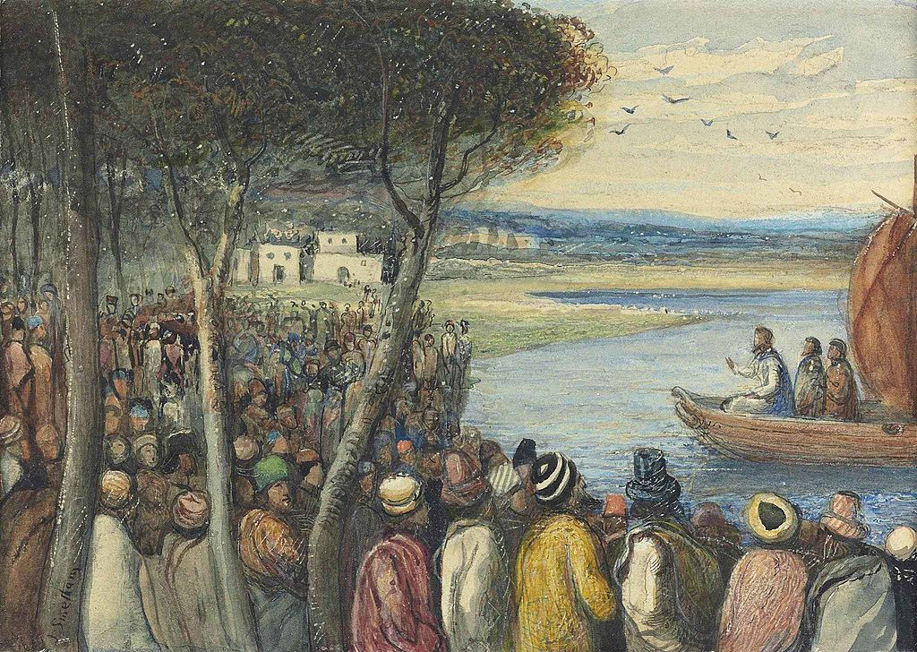 Image result for jesus spoke to multitudes from boat images