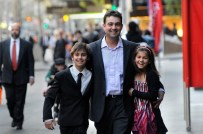 2009 Victorian Father of the Year with children Jack and Lucy outside Melbourne Town Hall.