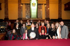 Victoria's 2012 Father of the Year Romeo Biancofiore with a large family in Council Chambers at Melbourne Town Hall.