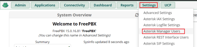 FreePBX Asterisk Manager Users