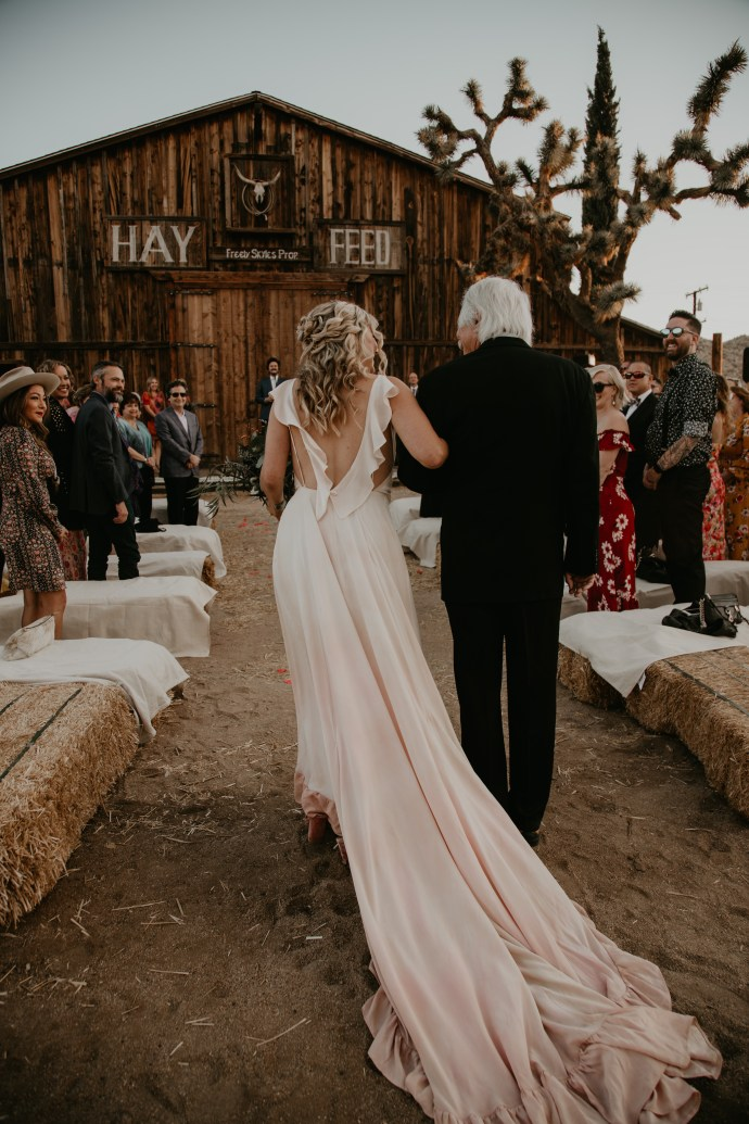 Plush pink wedding dress at Pioneertown Wedding, photo by Fatima Elreda Photo