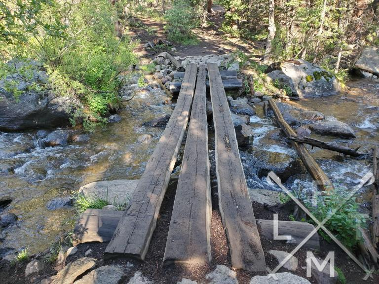 A makeshift bridge over a stream that you need to cross.