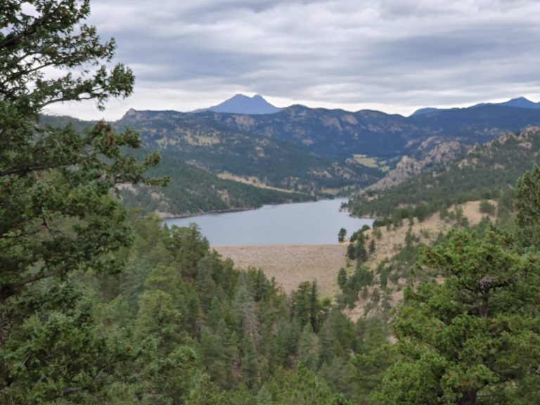 View from above Ralph Price reservoir looking out towards Twin Sisters peak.