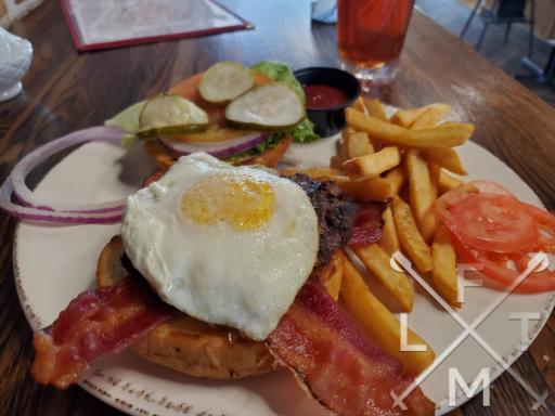 The Breakfast burger at the Buffalo Rose