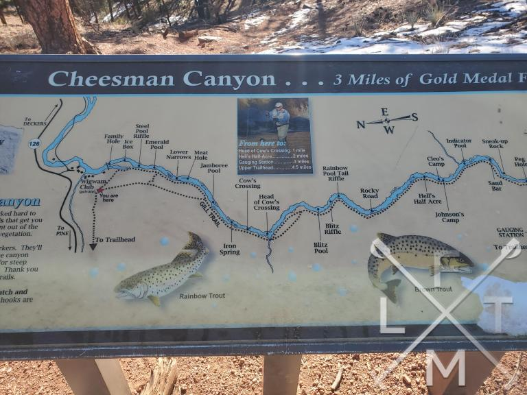 A placard describing the fishing and spots to fish inside Cheesman Canyon