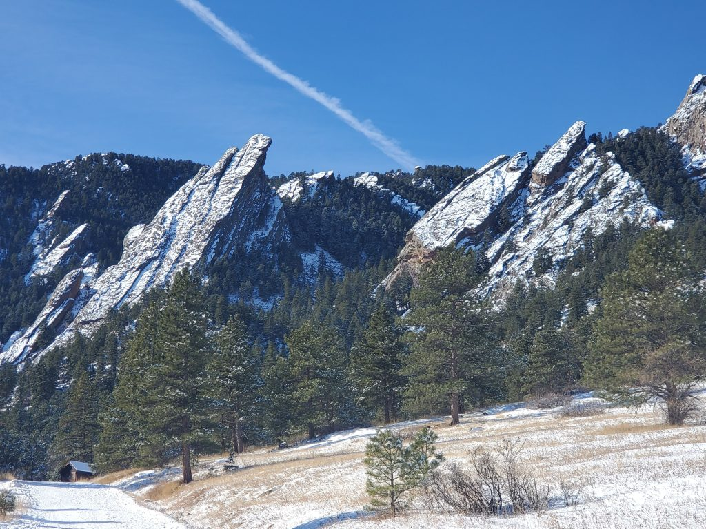 The Flatirons from the bluebell trail.