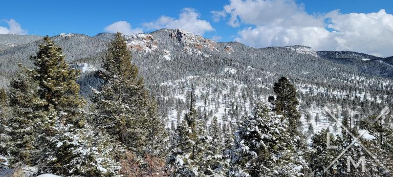 The views from the Scout Line trail shows a hillside with several small peaks and one rocky peak in the center.  It also shows most of the park which is snow covered.