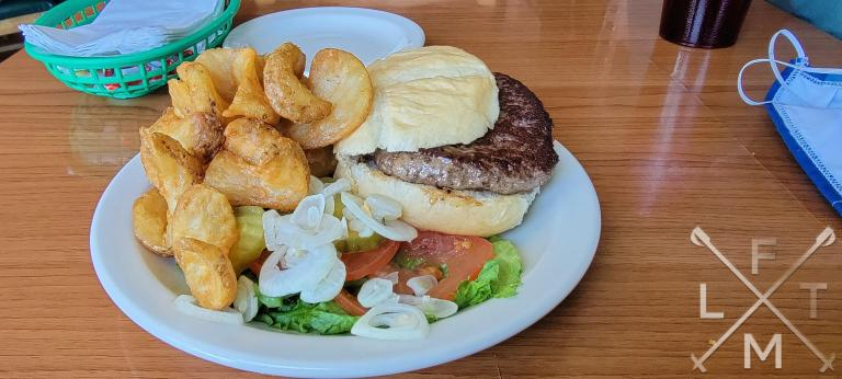 The hamburger with sidewinder fries from O'Malley's Steak Pub in Palmer Lake, Colorado