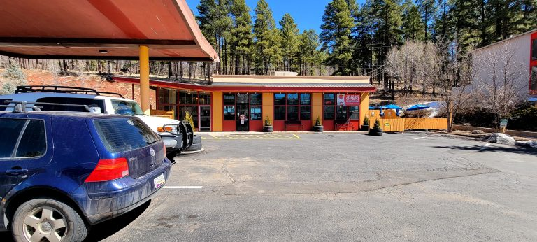 The exterior of the Flagstaff Station Market and Cafe.  A renovated gas station from the 1960's decked out as a boutique diner