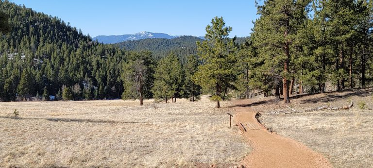 The views across Dines Meadow and towards the southern hills of Jefferson County on the Mason Creek Trail.