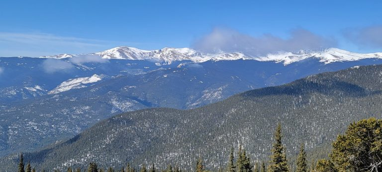 The view of Mt. Evans from the top of Mestaa'ėhehe Mountain, formerly Squaw Mountain.