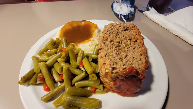 The meatloaf special from the 19th St. Diner consisted of a generous piece of meatloaf, green beans and mashed potato's.