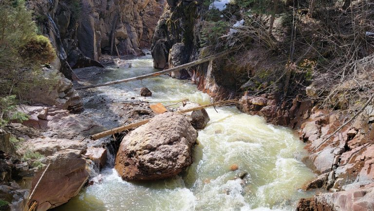 The Fast Moving Uncompahgre River is at about the half way point of the Ouray Perimeter Trail.