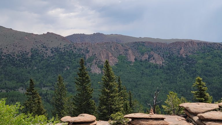 The view to the east of the top of the Pancake Rocks and Horsethief Falls trail shows cliffs with trees about 3/4 of the way up and brown rocky tops.