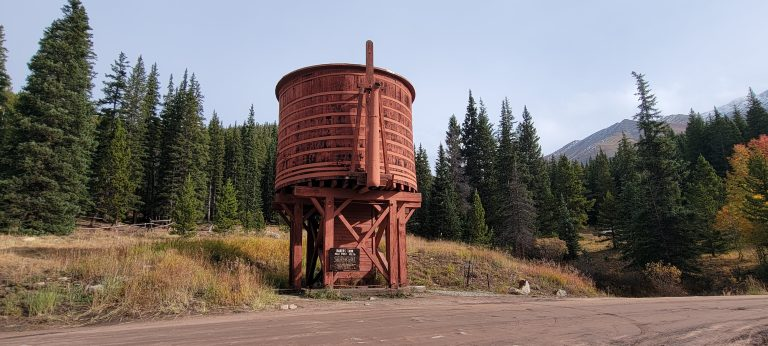 The large read Bakers Tank on the junction of Boreas Pass.