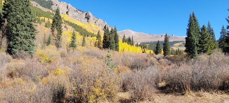 At the creek bank the trees on the side of the closest hill is yellow with fall colors on the Abyss trail to Helms Lake as part of a nice Colorado Fall Hike