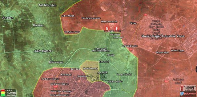Mapa de Aleppo no fim do mês passado !