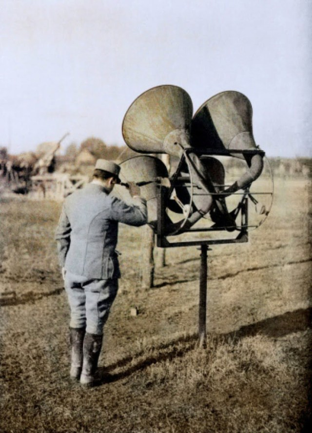"""France 1914-1918. A French soldier with an acoustic listening device capable of tracking air planes in preparation of anti-aircraft guns on the Western Front. World War I. Autochrome LumiËre. ©R Schultz Collection / The Image Works NOTE: The copyright notice must include """"The Image Works"""" DO NOT SHORTEN THE NAME OF THE COMPANY"""