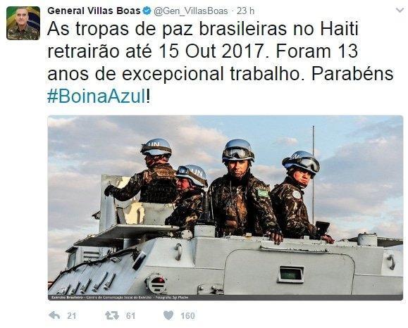 Twitter do general villas boas sobre a retirada das tropas brasileiras em missão de paz no Haiti