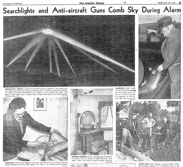 Jornal da época sobre a Batalha de Los Angeles