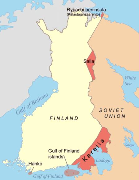 As partes em vermelho foram territórios que a Finlândia perdeu para a União Soviética após a Guerra do Inverno. - Fatos Militares