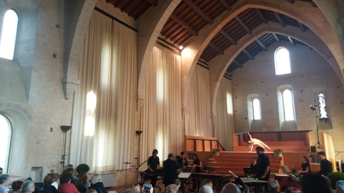 I percussionisti del Manzoni di Latina nel concerto a Fossanova