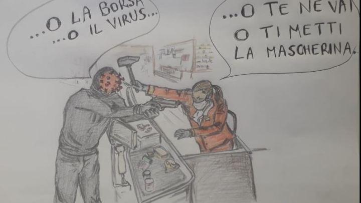 Covid 19/ Le Wonder Woman alla cassa del supermercato (la vignetta di De Amicis)