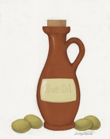 Pencil sketch of an olive oil bottle filled with flat color