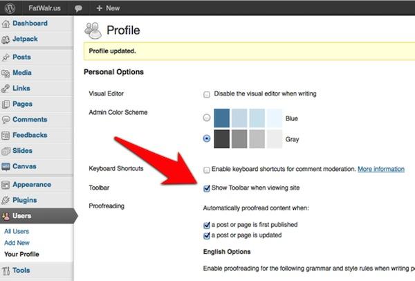 Disable the WordPress admin toolbar