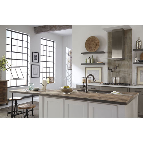 delta venetian bronze cassidy single handle pull down kitchen faucet with touch2o technology and wall mount pot filler faucet package d081cr