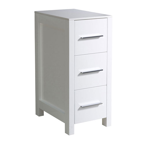 Fresca Torino White 12 Wide 3 Drawer Bathroom Storage