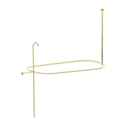 polished brass oval rectangle shower curtain rod ring clawfoot tub enclosure 57 x 31