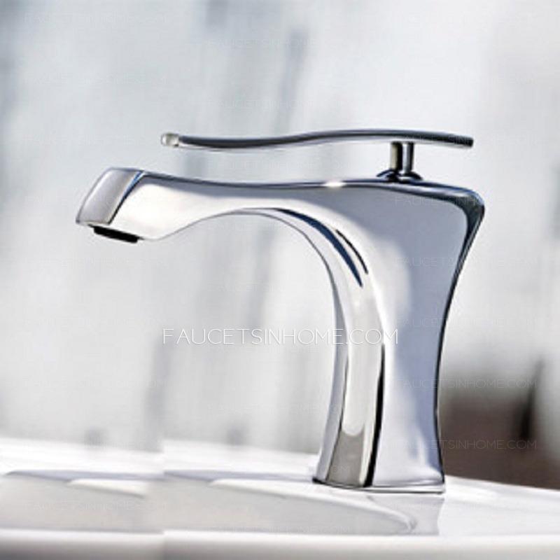 Modern Chrome Finish Ceramic Spool Bathroom Sink Faucets