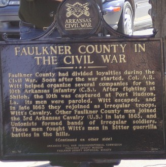 Civil War markers, Faulkner County, Arkansas