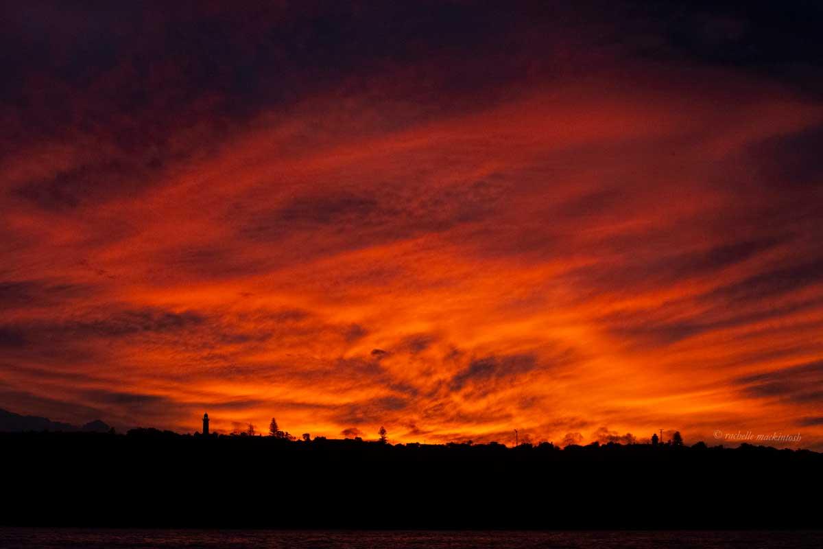 red sunset south head lighthouse sydney