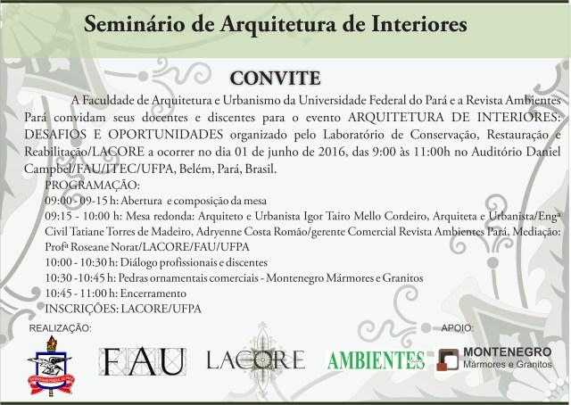 Convite Seminário de Arquitetura de Interiores