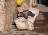 Construction workier at the Colosseum. I guess it's still being built!