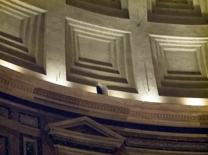 The hole that Brunelleschi cut in the Pantheon Dome above the entry to figure out how ancient Romans built the thing.