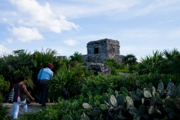 Tomas leading Carline through the Tulum ruins